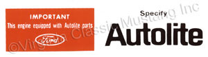 68-73 AUTOLITE AIR CLEANER DECAL