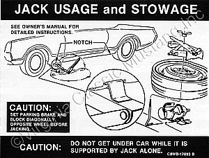 68-70 JACK INSTRUCTION WITH SPACE SAVER DECAL