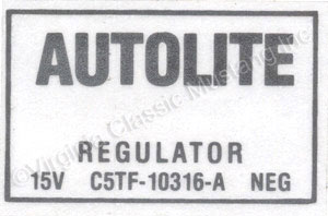 65-66 VOLTAGE REGULATOR DECAL WITH AIR