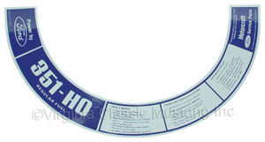72 351-HO AIR CLEANER DECAL