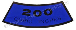 65-67  200 AIR CLEANER DECAL
