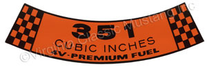 69 351-4V PREMIUM FUEL AIR CLEANER DECAL