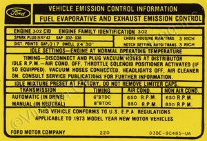 73 302-2V EMISSION DECAL D3DE-9C485-UA
