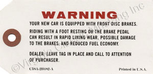 65-66 DISC BRAKE WARNING TAG