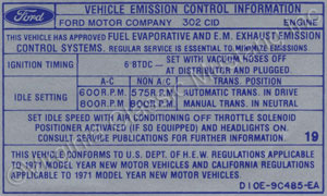 71 302-2V EMISSION DECAL D10E-9C485-EA