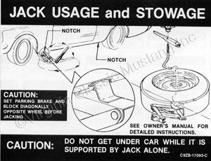 69-70 JACK INSTRUCTION WITH REGULAR WHEELS DECAL