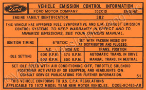 72 302-2V EMISSION DECAL DZ0E-9C485-AB