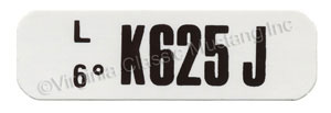 71 BOSS 351 ENGINE CODE DECAL  K625J