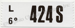 69 428 CJ ENGINE CODE DECAL  424S