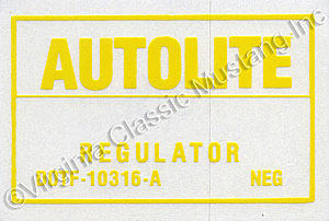 71 WITH AIR VOLTAGE REGULATOR DECAL
