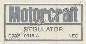 73 NO AIR VOLTAGE REGULATOR DECAL