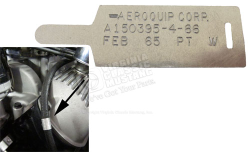 65 GT350 SHELBY MUSTANG ALUMINUM TAG FOR AEROQUIP OIL PRESSURE HOSE - FEB DATE