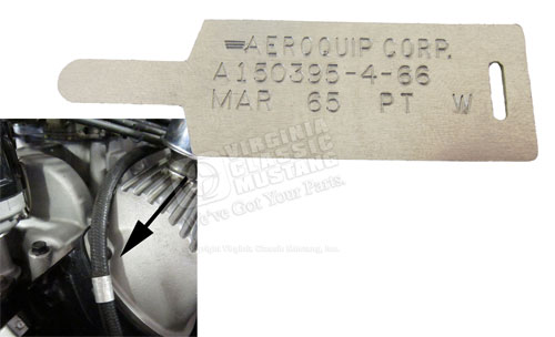 65 GT350 SHELBY MUSTANG ALUMINUM TAG FOR AEROQUIP OIL PRESSURE HOSE - MARCH DATE
