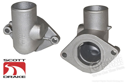 67-70 390/428 ALUMINUM WATER NECK (THERMOSTAT HOUSING)  NO HOLE TAPPED HOLE FOR FITTING