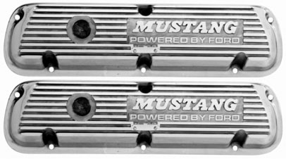 POLISHED ALUMINUM MUSTANG VALVE COVERS-PAIR