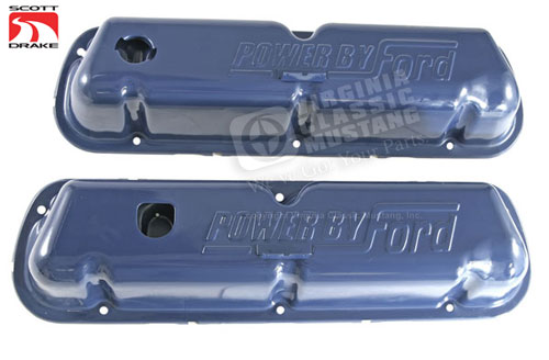 1968-72 EXACT BLUE VALVE COVERS-PAIR STAMPED WITH POWER BY FORD-FIT 302, 351W