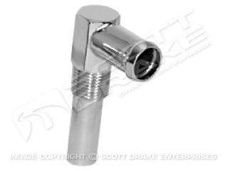 65-73 260,289,302 INTAKE WATER NECK-CHROME (HEATER HOSE CONNECTION)