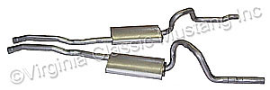 "70 2 1/4"" DUAL EXHAUST SYSTEM-USE WITH STAGGERED REAR SHOCK SET-UP--USE WITH ORIGINAL MACH 1 TIPS-AFTERMARKET TIPS"