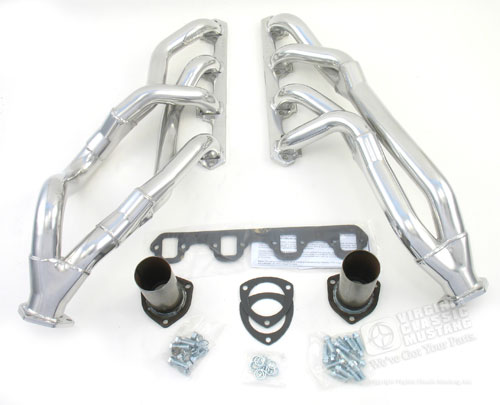 65-70 DOUGS TRI-Y HEADER SET-COATED WITH SILVER POLISHED CERAMIC THERMAL BARRIER- MANUAL TRANSMISSION MODEL-260,289,302