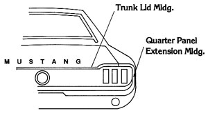 67-68 LH FASTBACK QUARTER PANEL EXTENSION MOLDING