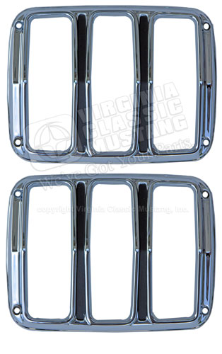 65-66 CHROME TAIL LIGHT DOOR BEZELS - MADE IN USA SHOW QUALITY - PAIR