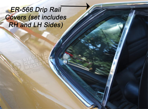 69-70 FASTBACK- DRIP RAIL MOLDING- SMALL JOINT COVER-PAIR