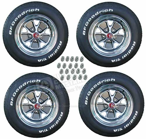 14 X 7 STYLED STEEL WHEEL/TIRE PACKAGE W/ 205/70 X 14 TIRES, HB14 CENTER CAPS, HB10 LUG NUTS