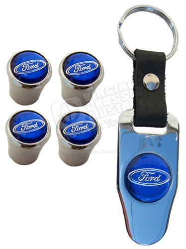 FORD LOGO VALVE STEM CAP SET WITH KEYCHAIN