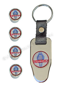 COBRA LOGO VALVE STEM CAP SET WITH KEYCHAIN