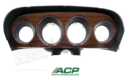 69 Mustang Deluxe Instrument Bezel with Woodgrain Panel