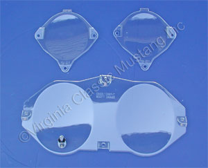 69-70 INSTRUMENT PANEL LENS SET OF 3 USE ON CAR EQUIPPED WITH FACTORY TACH INCLUDES NEW CHROME TRIP ODOMETER BUTTON