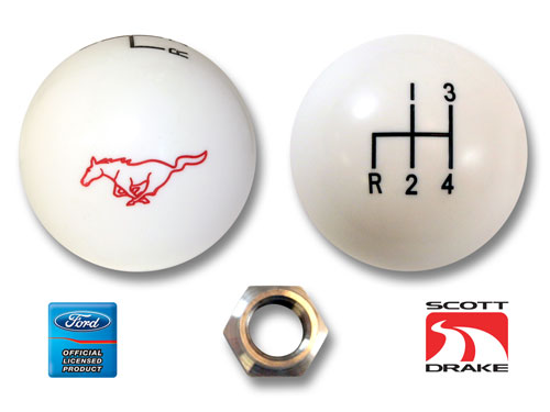 65-73 WHITE 4 SPEED SHIFT KNOB WITH RUNNING HORSE LOGO
