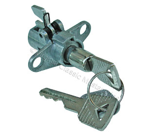 65-66 GLOVE BOX LATCH / BUTTON - (LOCKING STYLE WITH KEY)-WORKS WITH 65 STD GT, 65-66 WOOD AND ALL 66 GLOVE BOX DOORS