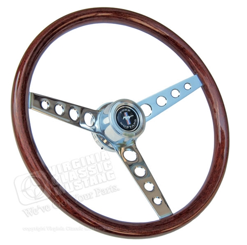 64 1/2 Mustang GT Classic Wood Steering Wheel Assembly