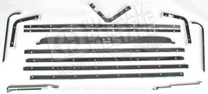 69-70 Fastback Rear Folddown Chrome Seat Trim Set