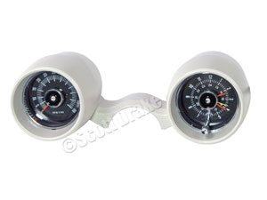 LOW PROFILE RALLY PAC-8 CYL-6000 RPM-WHITE USE WITH GAUGE STYLE INSTRUMENT PANEL WIRING AND BRACKETS INCLUDED