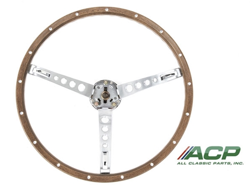 65-66 SIMULATED WOODGRAIN STEERING WHEEL COMPLETE WITH HORN RING, SPACER COLLAR AND CONTACT PLATES (NO CAP)