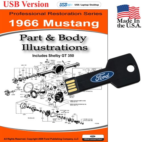 1966 MUSTANG PARTS AND BODY ILLUSTRATIONS ON CD