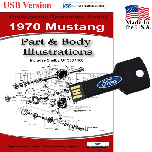 1970 MUSTANG PARTS AND BODY ILLUSTRATIONS ON CD