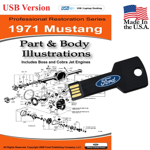 1971 MUSTANG PARTS AND BODY ILLUSTRATIONS ON CD