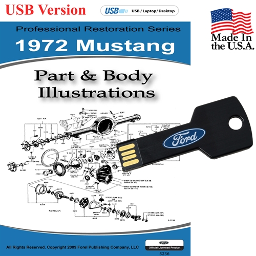 1972 MUSTANG PARTS AND BODY ILLUSTRATIONS ON CD
