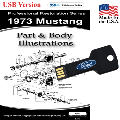 1973 MUSTANG PARTS AND BODY ILLUSTRATIONS ON CD