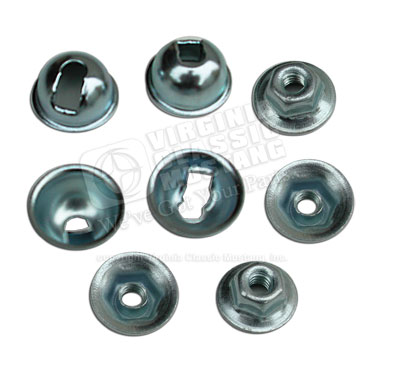 65-70 CORRECT STYLE BACK-UP LIGHT MOUNTING NUTS WITH BELL SPACERS-4 OF EACH