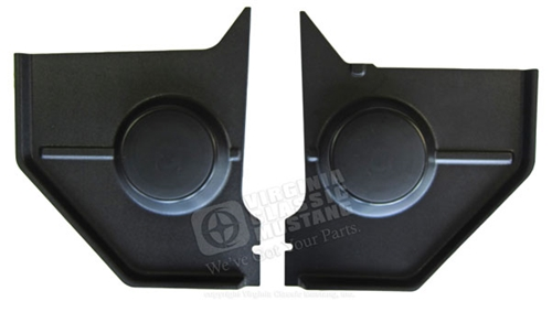 65-66 Mustang Coupe and Fastback Kick Panels - Black - with Standard Speakers - Pair