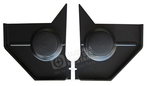 67-68 Mustang Coupe and Fastback Kick Panels - Black - with Standard Speakers - Pair