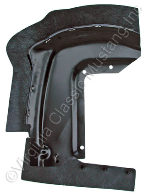67-68 LH FRONT/FRONT FENDER SPLASH SHIELD WITH RUBBER