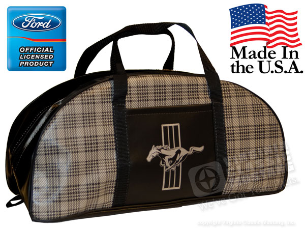 PLAID MUSTANG LOGO TOTE BAG