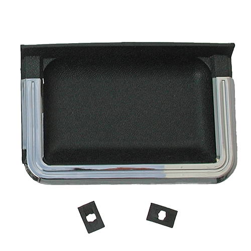 69-70 STANDARD DOOR PANEL CUPS WITH CHROME- BLACK-PAIR