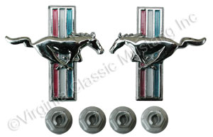 69-70 RUNNING HORSE DOOR PANEL EMBLEMS-PAIR FOR 69 STANDARD AND DELUXE INTERIORS AND FOR 70 DELUXE INTERIOR WITH MOUNTING NUTS