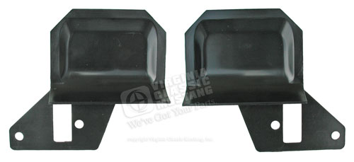 69-70 DELUXE INTERIOR DOOR HANDLE TRIM PLATES -PAIR-BLACK PLASTIC-PAINT TO MATCH- FITS BEHIND CHROME DOOR HANDLE